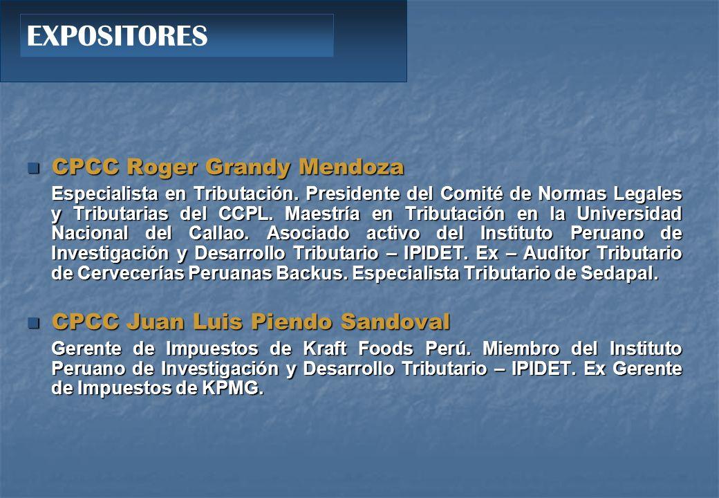 CPCC Roger Grandy Mendoza CPCC Roger Grandy Mendoza Especialista en Tributación.