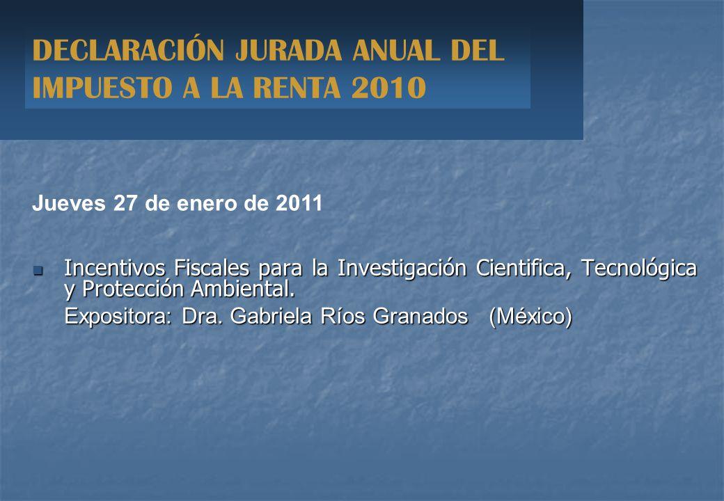 Incentivos Fiscales para la Investigación Cientifica, Tecnológica y Protección Ambiental.