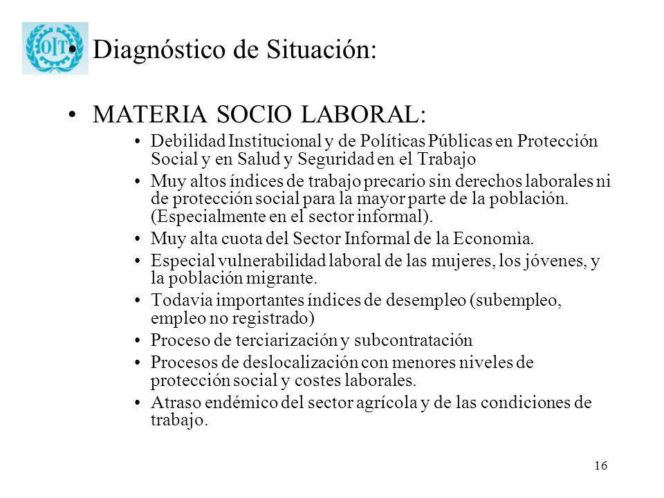 16 Diagnóstico de Situación: MATERIA SOCIO LABORAL: Debilidad Institucional y de Políticas Públicas en Protección Social y en Salud y Seguridad en el