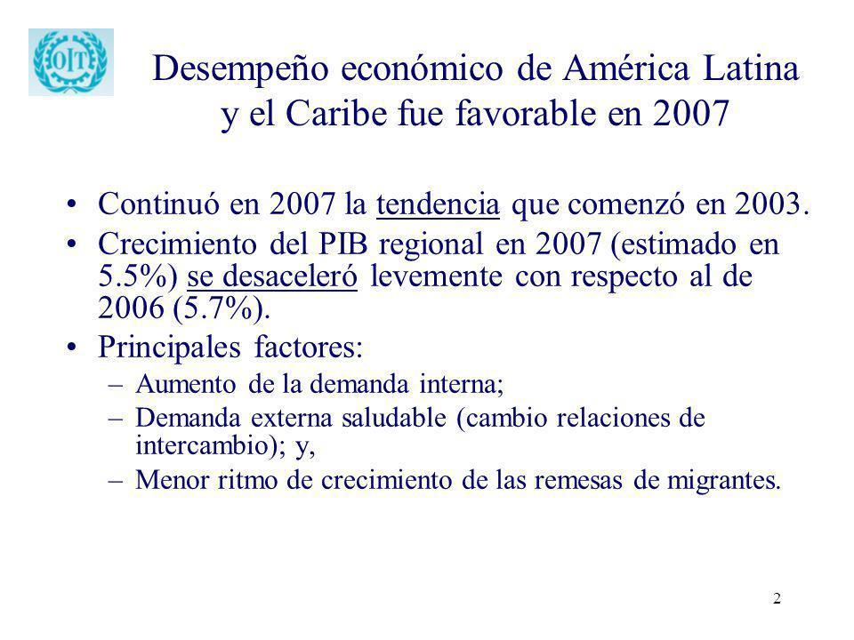 2 Desempeño económico de América Latina y el Caribe fue favorable en 2007 Continuó en 2007 la tendencia que comenzó en 2003. Crecimiento del PIB regio