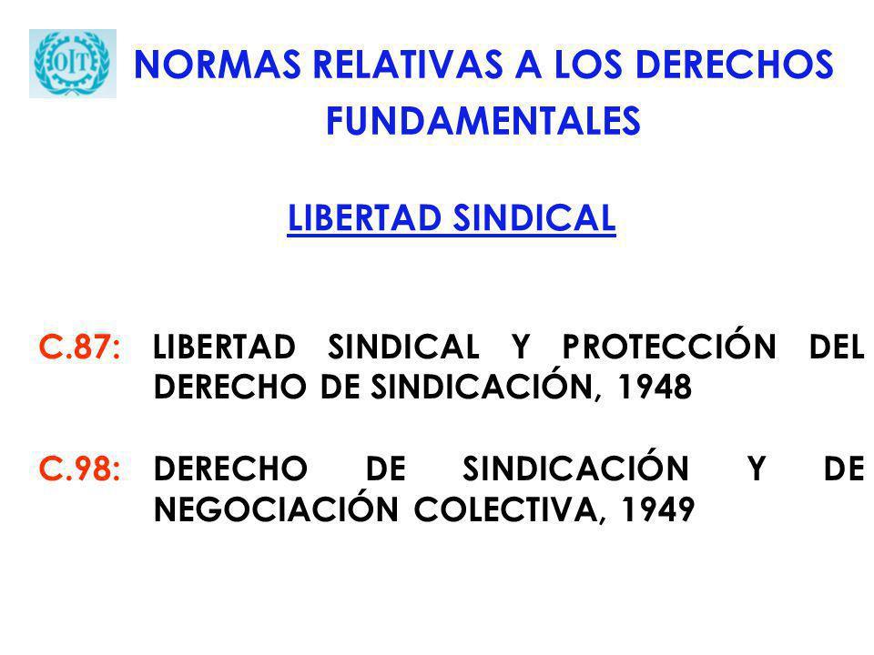 C.87: LIBERTAD SINDICAL Y PROTECCIÓN DEL DERECHO DE SINDICACIÓN, 1948 C.98:DERECHO DE SINDICACIÓN Y DE NEGOCIACIÓN COLECTIVA, 1949 NORMAS RELATIVAS A