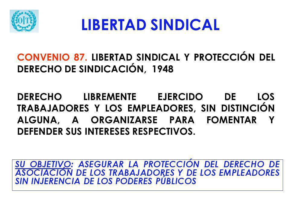 SU OBJETIVO: ASEGURAR LA PROTECCIÓN DEL DERECHO DE ASOCIACIÓN DE LOS TRABAJADORES Y DE LOS EMPLEADORES SIN INJERENCIA DE LOS PODERES PÚBLICOS LIBERTAD