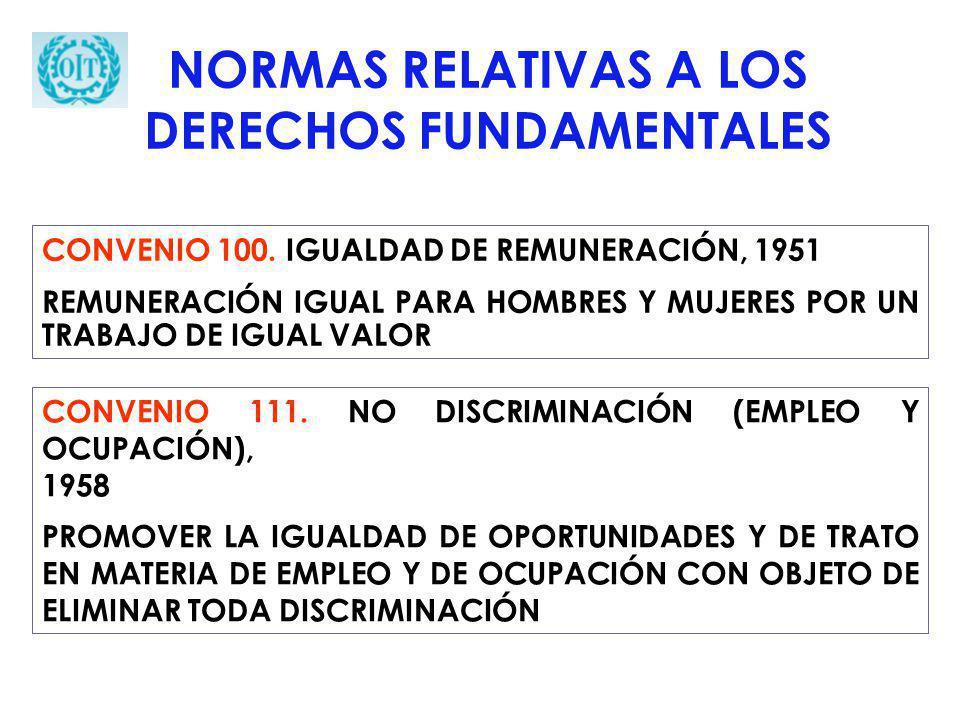 NORMAS RELATIVAS A LOS DERECHOS FUNDAMENTALES CONVENIO 100. IGUALDAD DE REMUNERACIÓN, 1951 REMUNERACIÓN IGUAL PARA HOMBRES Y MUJERES POR UN TRABAJO DE