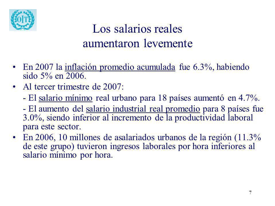7 Los salarios reales aumentaron levemente En 2007 la inflación promedio acumulada fue 6.3%, habiendo sido 5% en 2006. Al tercer trimestre de 2007: -