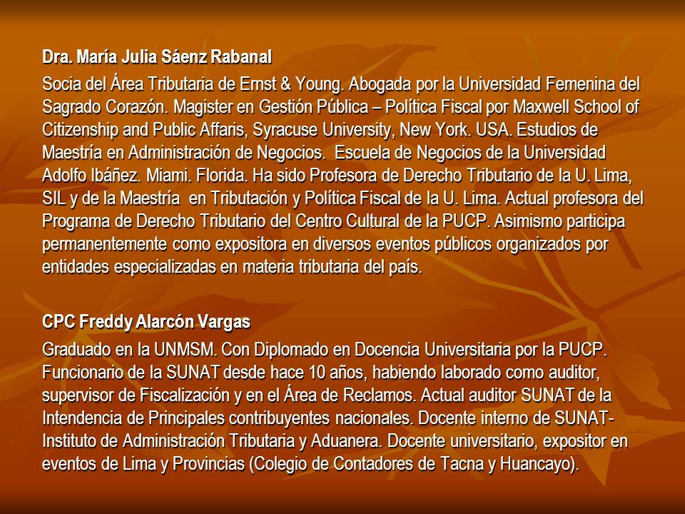 Dra.María Julia Sáenz Rabanal Socia del Área Tributaria de Ernst & Young.