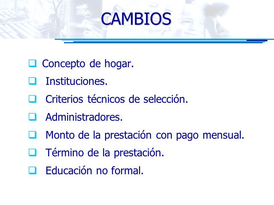 CAMBIOS Concepto de hogar. Instituciones. Criterios técnicos de selección. Administradores. Monto de la prestación con pago mensual. Término de la pre