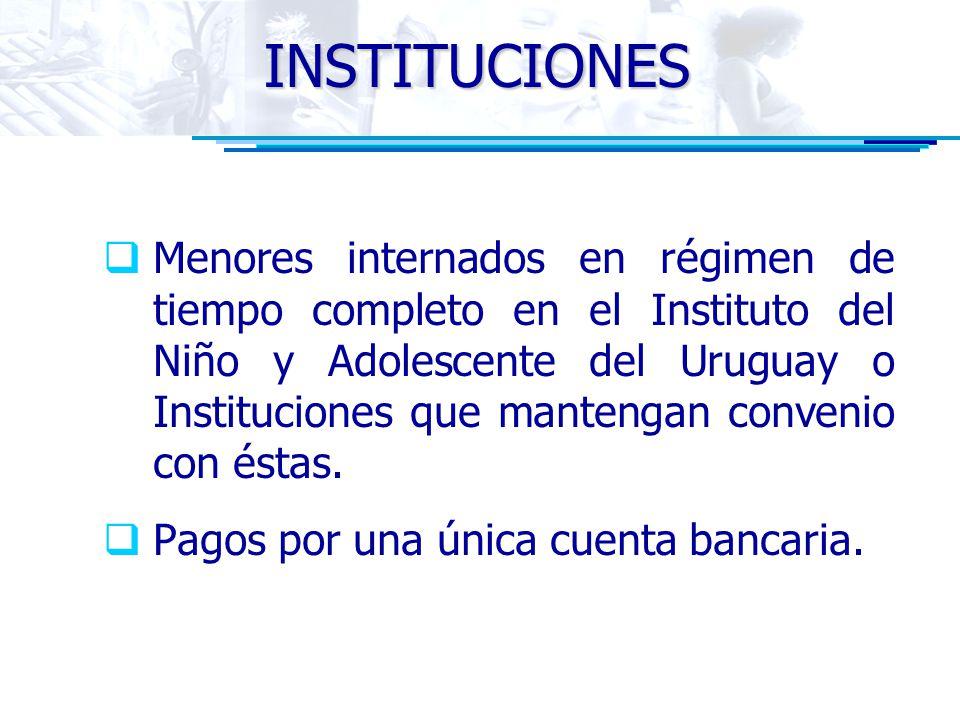 INSTITUCIONES Menores internados en régimen de tiempo completo en el Instituto del Niño y Adolescente del Uruguay o Instituciones que mantengan convenio con éstas.