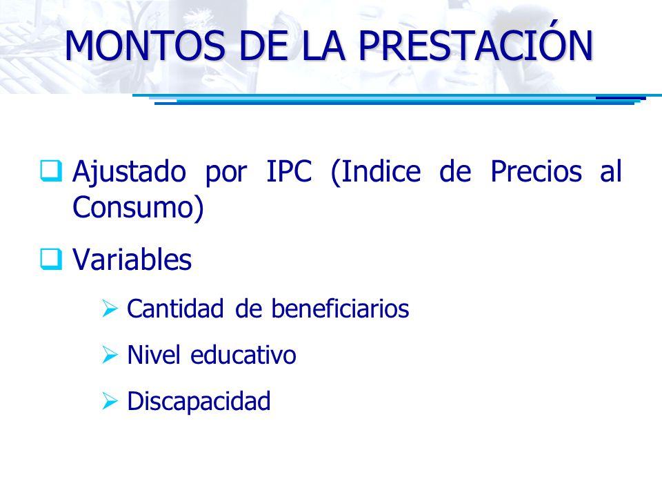 MONTOS DE LA PRESTACIÓN Ajustado por IPC (Indice de Precios al Consumo) Variables Cantidad de beneficiarios Nivel educativo Discapacidad