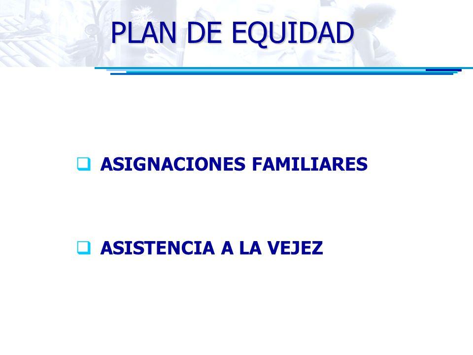 PLAN DE EQUIDAD ASIGNACIONES FAMILIARES ASISTENCIA A LA VEJEZ