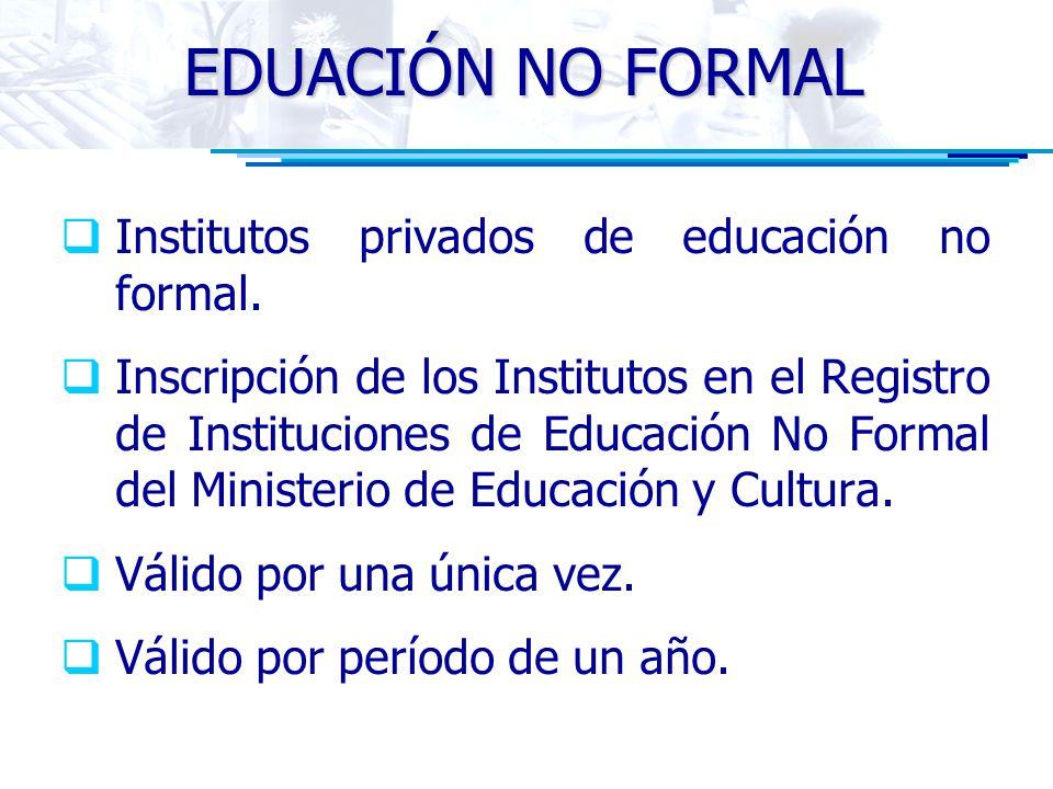EDUACIÓN NO FORMAL Institutos privados de educación no formal.