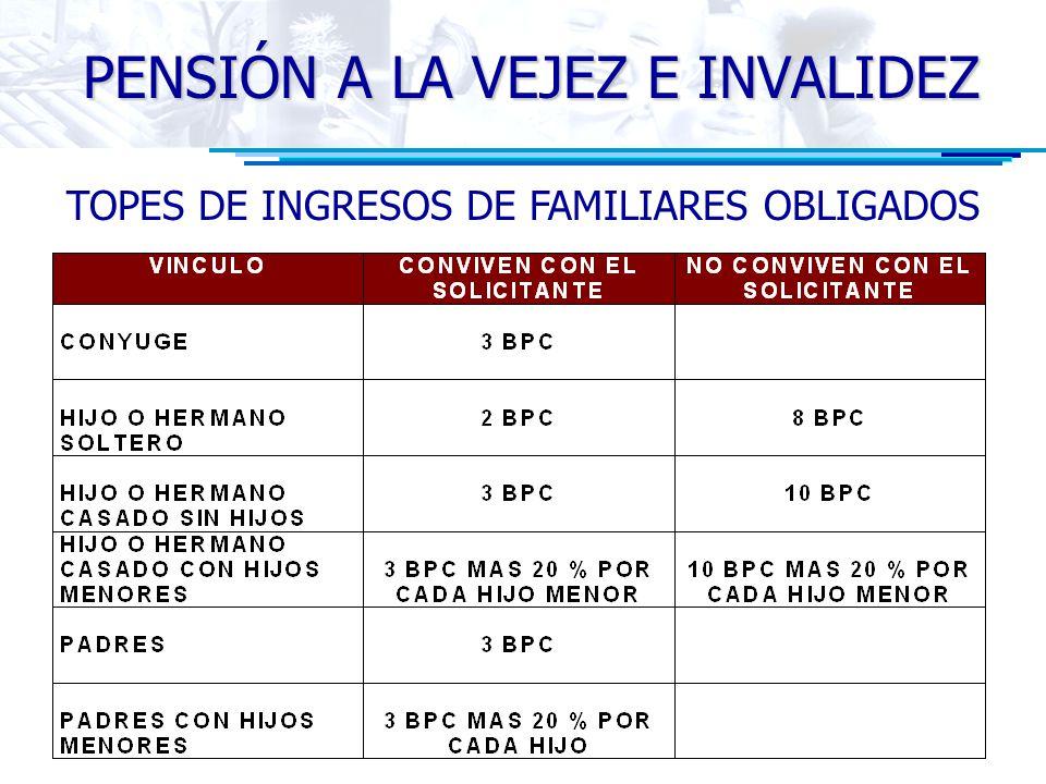 TOPES DE INGRESOS DE FAMILIARES OBLIGADOS