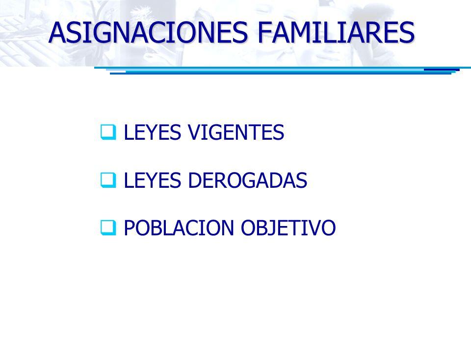 ASIGNACIONES FAMILIARES LEYES VIGENTES LEYES DEROGADAS POBLACION OBJETIVO