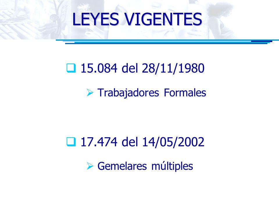 LEYES VIGENTES 15.084 del 28/11/1980 Trabajadores Formales 17.474 del 14/05/2002 Gemelares múltiples