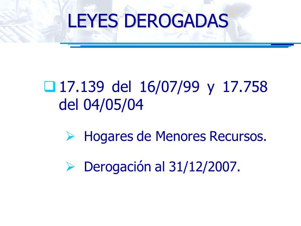 LEYES DEROGADAS 17.139 del 16/07/99 y 17.758 del 04/05/04 Hogares de Menores Recursos. Derogación al 31/12/2007.