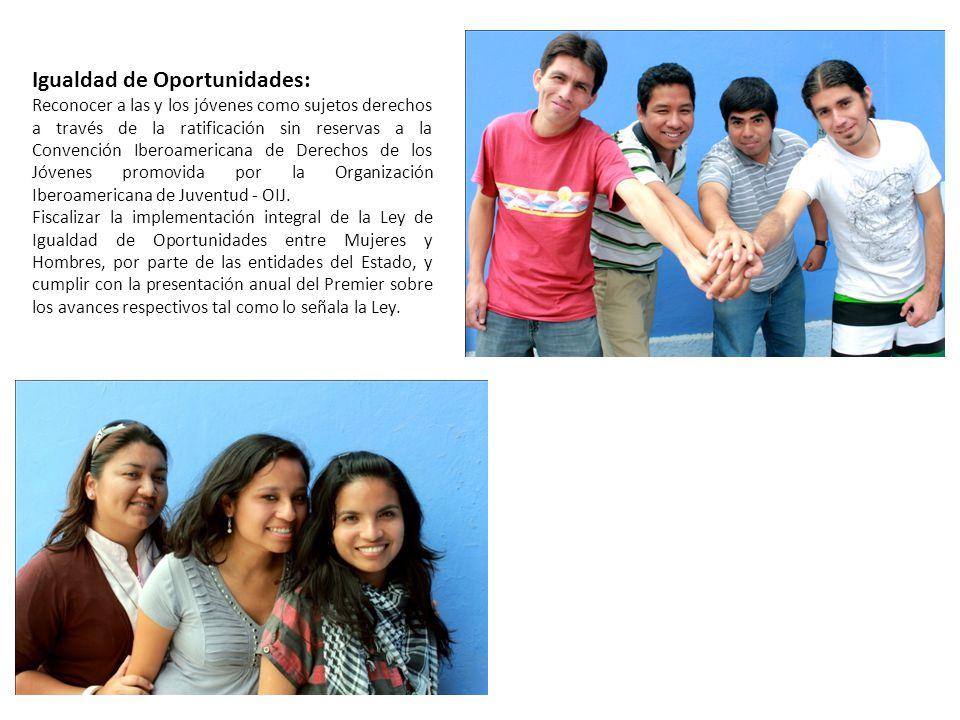 Igualdad de Oportunidades: Reconocer a las y los jóvenes como sujetos derechos a través de la ratificación sin reservas a la Convención Iberoamericana de Derechos de los Jóvenes promovida por la Organización Iberoamericana de Juventud - OIJ.