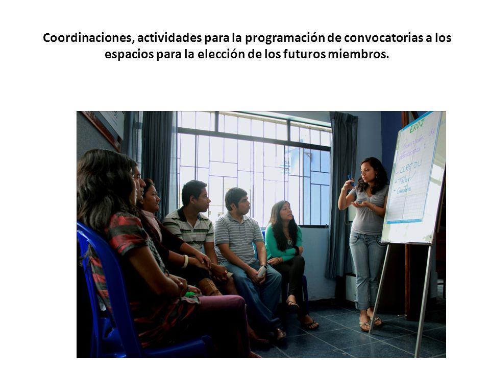 Coordinaciones, actividades para la programación de convocatorias a los espacios para la elección de los futuros miembros.