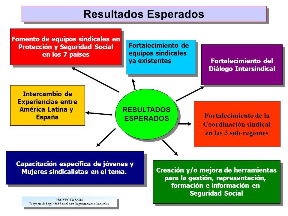 Resultados Esperados Fortalecimiento de equipos sindicales ya existentes Fortalecimiento de equipos sindicales ya existentes Fortalecimiento del Diálogo Intersindical Fortalecimiento del Diálogo Intersindical RESULTADOS ESPERADOS RESULTADOS ESPERADOS Creación y/o mejora de herramientas para la gestión, representación, formación e información en Seguridad Social Creación y/o mejora de herramientas para la gestión, representación, formación e información en Seguridad Social Fomento de equipos sindicales en Protección y Seguridad Social en los 7 países Fomento de equipos sindicales en Protección y Seguridad Social en los 7 países Fortalecimiento de la Coordinación sindical en las 3 sub-regiones Intercambio de Experiencias entre América Latina y España Capacitación específica de jóvenes y Mujeres sindicalistas en el tema.