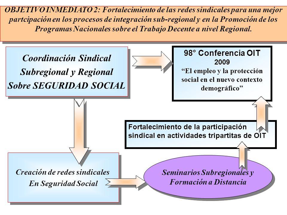 Coordinación Sindical Subregional y Regional Sobre SEGURIDAD SOCIAL Coordinación Sindical Subregional y Regional Sobre SEGURIDAD SOCIAL 98° Conferenci
