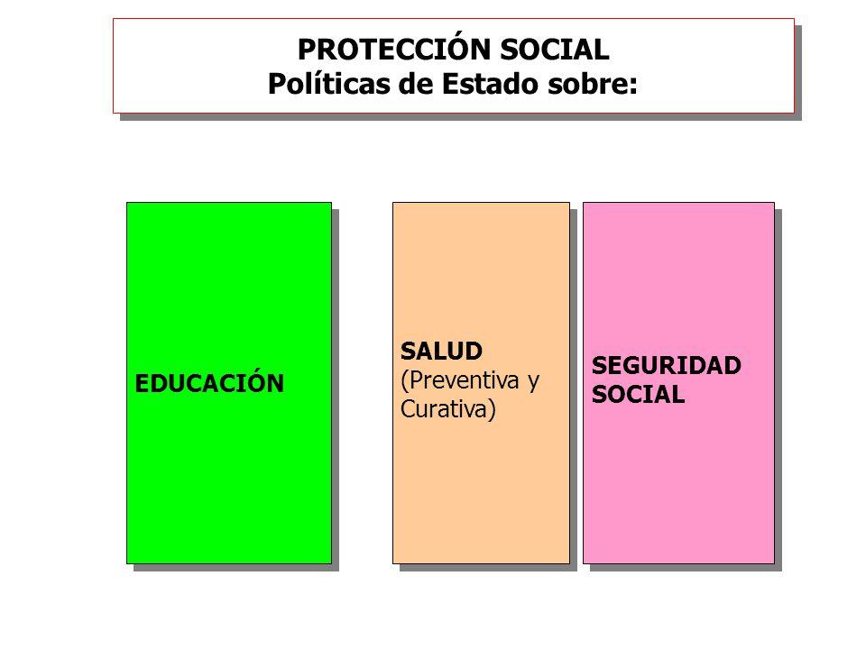 PROTECCIÓN SOCIAL Políticas de Estado sobre: EDUCACIÓN SALUD (Preventiva y Curativa) SALUD (Preventiva y Curativa) SEGURIDAD SOCIAL SEGURIDAD SOCIAL