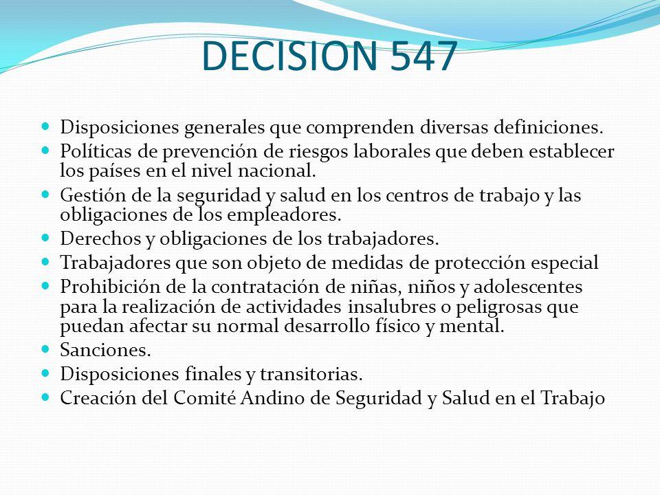 DECISION 547 Disposiciones generales que comprenden diversas definiciones.