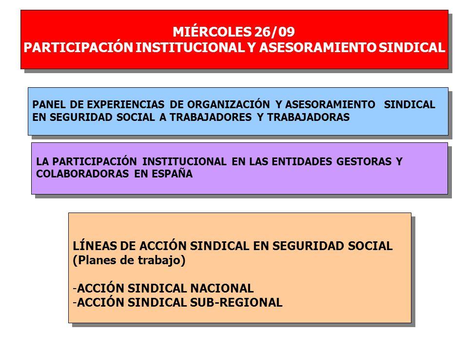 MIÉRCOLES 26/09 PARTICIPACIÓN INSTITUCIONAL Y ASESORAMIENTO SINDICAL MIÉRCOLES 26/09 PARTICIPACIÓN INSTITUCIONAL Y ASESORAMIENTO SINDICAL LA PARTICIPACIÓN INSTITUCIONAL EN LAS ENTIDADES GESTORAS Y COLABORADORAS EN ESPAÑA LA PARTICIPACIÓN INSTITUCIONAL EN LAS ENTIDADES GESTORAS Y COLABORADORAS EN ESPAÑA PANEL DE EXPERIENCIAS DE ORGANIZACIÓN Y ASESORAMIENTO SINDICAL EN SEGURIDAD SOCIAL A TRABAJADORES Y TRABAJADORAS PANEL DE EXPERIENCIAS DE ORGANIZACIÓN Y ASESORAMIENTO SINDICAL EN SEGURIDAD SOCIAL A TRABAJADORES Y TRABAJADORAS LÍNEAS DE ACCIÓN SINDICAL EN SEGURIDAD SOCIAL (Planes de trabajo) -ACCIÓN SINDICAL NACIONAL -ACCIÓN SINDICAL SUB-REGIONAL LÍNEAS DE ACCIÓN SINDICAL EN SEGURIDAD SOCIAL (Planes de trabajo) -ACCIÓN SINDICAL NACIONAL -ACCIÓN SINDICAL SUB-REGIONAL