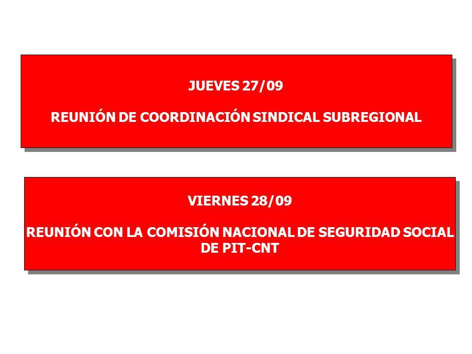 JUEVES 27/09 REUNIÓN DE COORDINACIÓN SINDICAL SUBREGIONAL JUEVES 27/09 REUNIÓN DE COORDINACIÓN SINDICAL SUBREGIONAL VIERNES 28/09 REUNIÓN CON LA COMISIÓN NACIONAL DE SEGURIDAD SOCIAL DE PIT-CNT VIERNES 28/09 REUNIÓN CON LA COMISIÓN NACIONAL DE SEGURIDAD SOCIAL DE PIT-CNT
