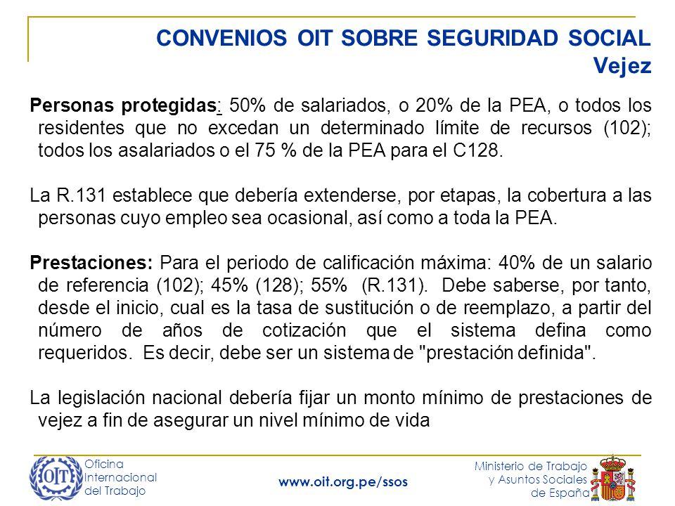 Oficina Internacional del Trabajo Ministerio de Trabajo y Asuntos Sociales de España www.oit.org.pe/ssos CONVENIOS OIT SOBRE SEGURIDAD SOCIAL Vejez Pe