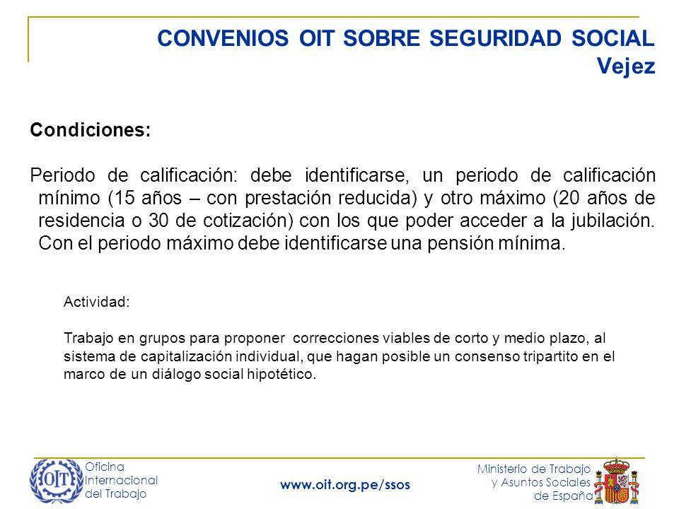 Oficina Internacional del Trabajo Ministerio de Trabajo y Asuntos Sociales de España www.oit.org.pe/ssos CONVENIOS OIT SOBRE SEGURIDAD SOCIAL Vejez Co
