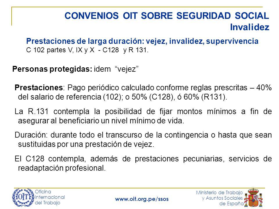 Oficina Internacional del Trabajo Ministerio de Trabajo y Asuntos Sociales de España www.oit.org.pe/ssos CONVENIOS OIT SOBRE SEGURIDAD SOCIAL Invalide