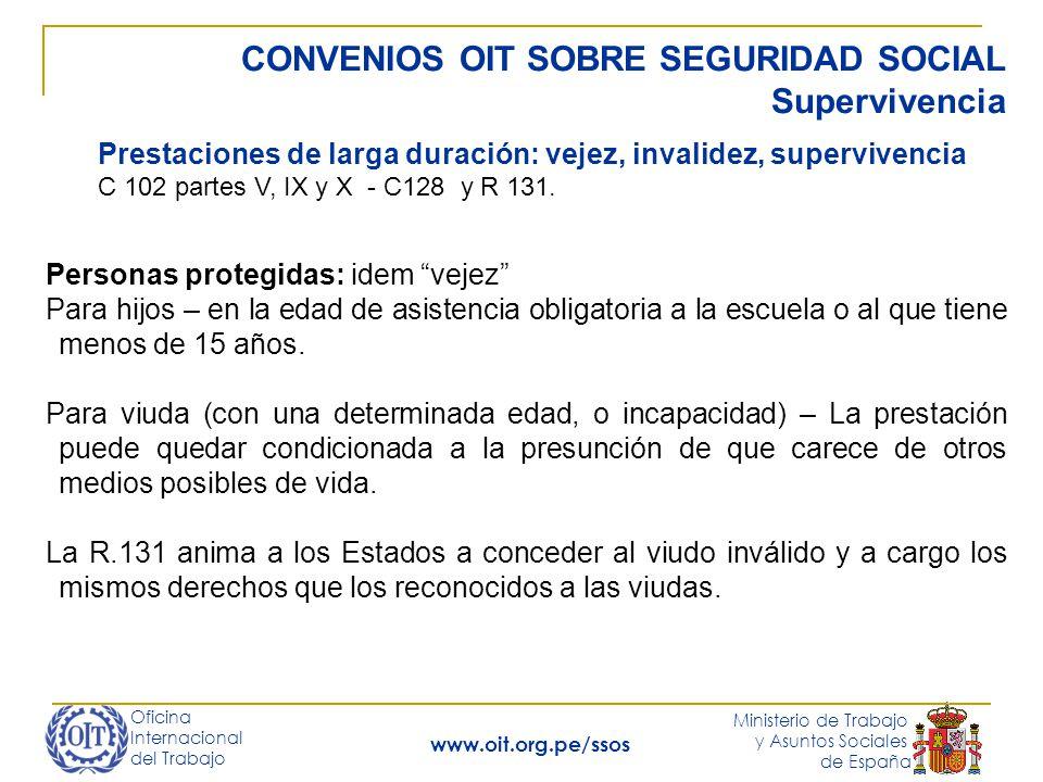 Oficina Internacional del Trabajo Ministerio de Trabajo y Asuntos Sociales de España www.oit.org.pe/ssos CONVENIOS OIT SOBRE SEGURIDAD SOCIAL Superviv