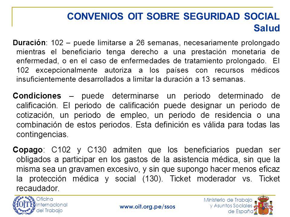 Oficina Internacional del Trabajo Ministerio de Trabajo y Asuntos Sociales de España www.oit.org.pe/ssos CONVENIOS OIT SOBRE SEGURIDAD SOCIAL Salud Du