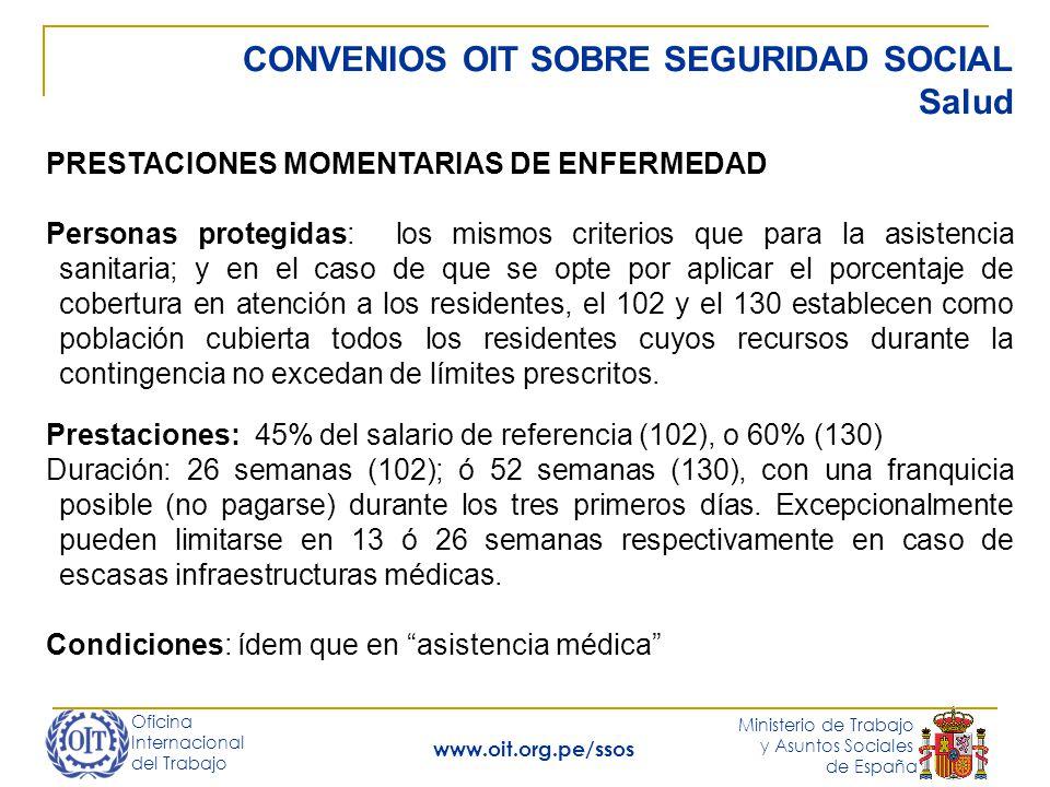 Oficina Internacional del Trabajo Ministerio de Trabajo y Asuntos Sociales de España www.oit.org.pe/ssos CONVENIOS OIT SOBRE SEGURIDAD SOCIAL Maternidad Maternidad C102 p.