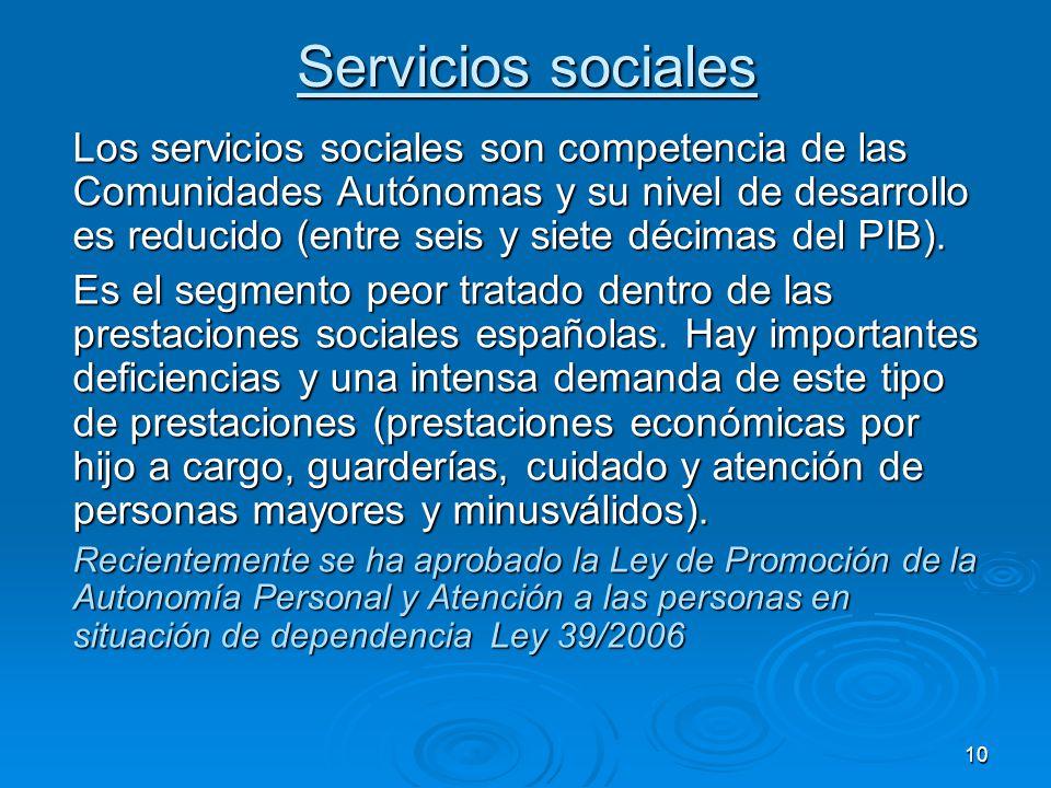 10 Servicios sociales Los servicios sociales son competencia de las Comunidades Autónomas y su nivel de desarrollo es reducido (entre seis y siete décimas del PIB).