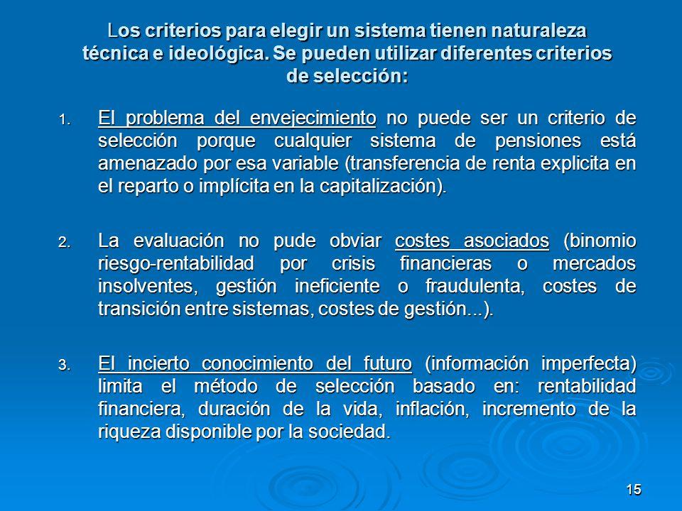1515 Los criterios para elegir un sistema tienen naturaleza técnica e ideológica.
