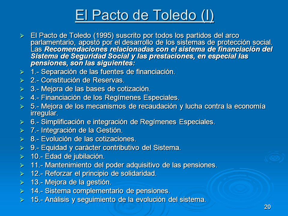 20 El Pacto de Toledo (I) El Pacto de Toledo (1995) suscrito por todos los partidos del arco parlamentario, apostó por el desarrollo de los sistemas de protección social.