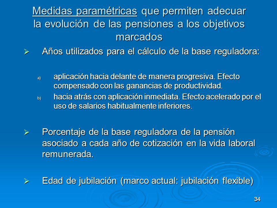 3434 Medidas paramétricas que permiten adecuar la evolución de las pensiones a los objetivos marcados Años utilizados para el cálculo de la base reguladora: Años utilizados para el cálculo de la base reguladora: a) aplicación hacia delante de manera progresiva.