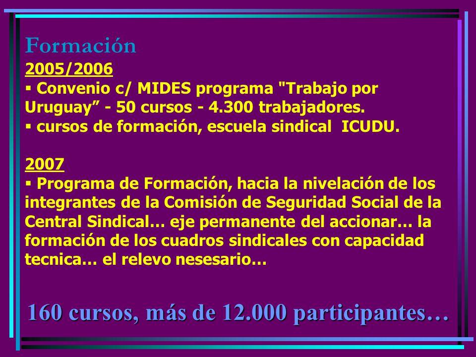 Formación 2005/2006 Convenio c/ MIDES programa Trabajo por Uruguay - 50 cursos - 4.300 trabajadores.