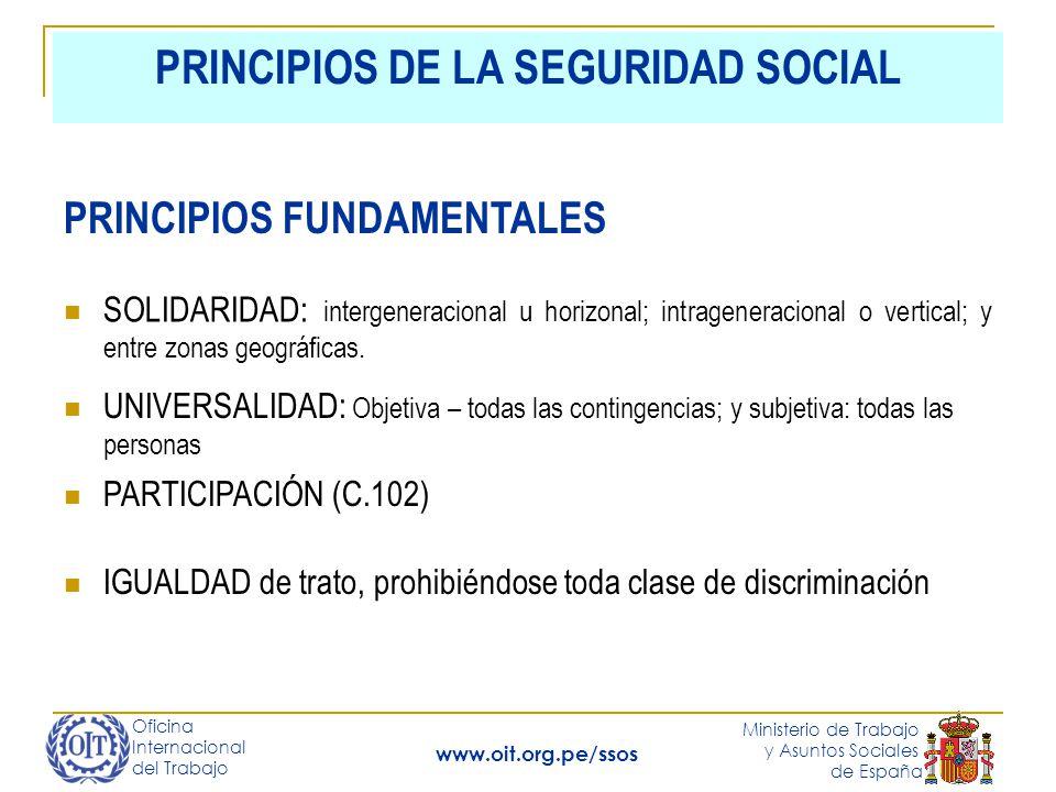 Oficina Internacional del Trabajo Ministerio de Trabajo y Asuntos Sociales de España www.oit.org.pe/ssos PRINCIPIOS DE LA SEGURIDAD SOCIAL SOLIDARIDAD: intergeneracional u horizonal; intrageneracional o vertical; y entre zonas geográficas.