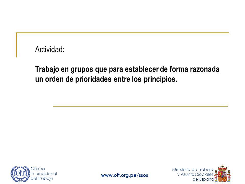 Oficina Internacional del Trabajo Ministerio de Trabajo y Asuntos Sociales de España www.oit.org.pe/ssos Actividad: Trabajo en grupos que para establecer de forma razonada un orden de prioridades entre los principios.