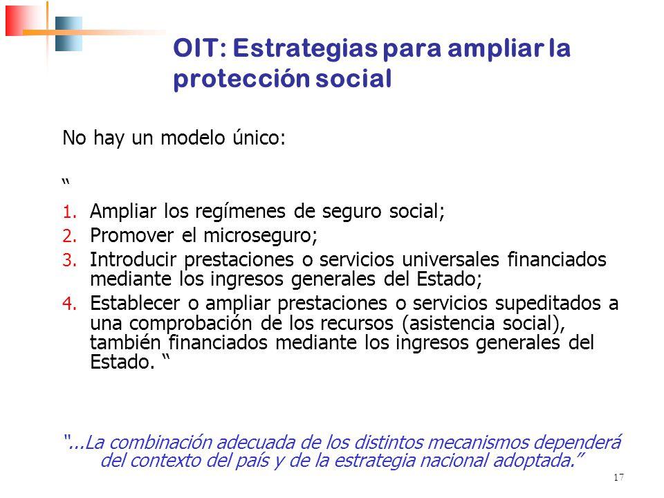 17 OIT: Estrategias para ampliar la protección social No hay un modelo único: 1. Ampliar los regímenes de seguro social; 2. Promover el microseguro; 3