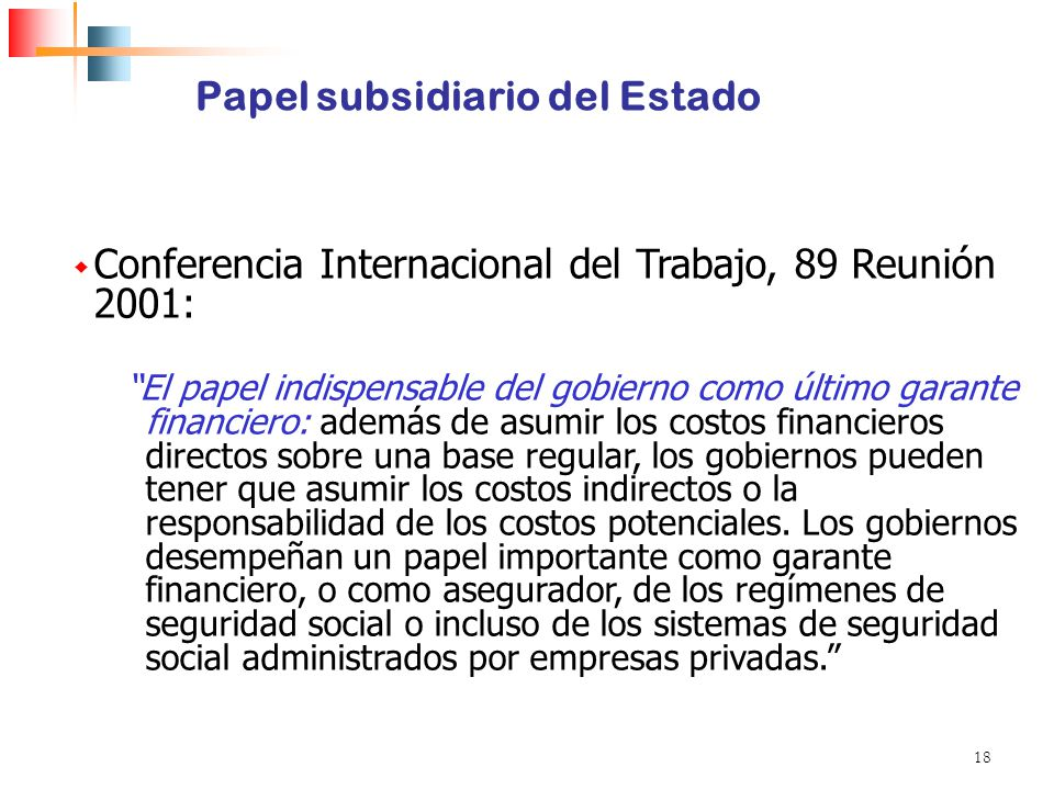 18 Papel subsidiario del Estado Conferencia Internacional del Trabajo, 89 Reunión 2001: El papel indispensable del gobierno como último garante financ