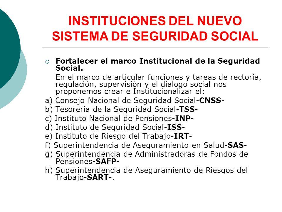 Fortalecer el marco Institucional de la Seguridad Social. En el marco de articular funciones y tareas de rectoría, regulación, supervisión y el dialog
