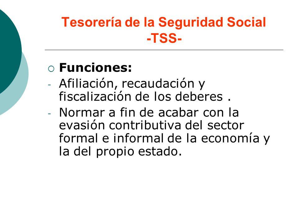 Tesorería de la Seguridad Social -TSS- Funciones: - Afiliación, recaudación y fiscalización de los deberes. - Normar a fin de acabar con la evasión co