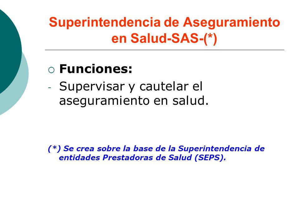 Superintendencia de Aseguramiento en Salud-SAS-(*) Funciones: - Supervisar y cautelar el aseguramiento en salud. (*) Se crea sobre la base de la Super