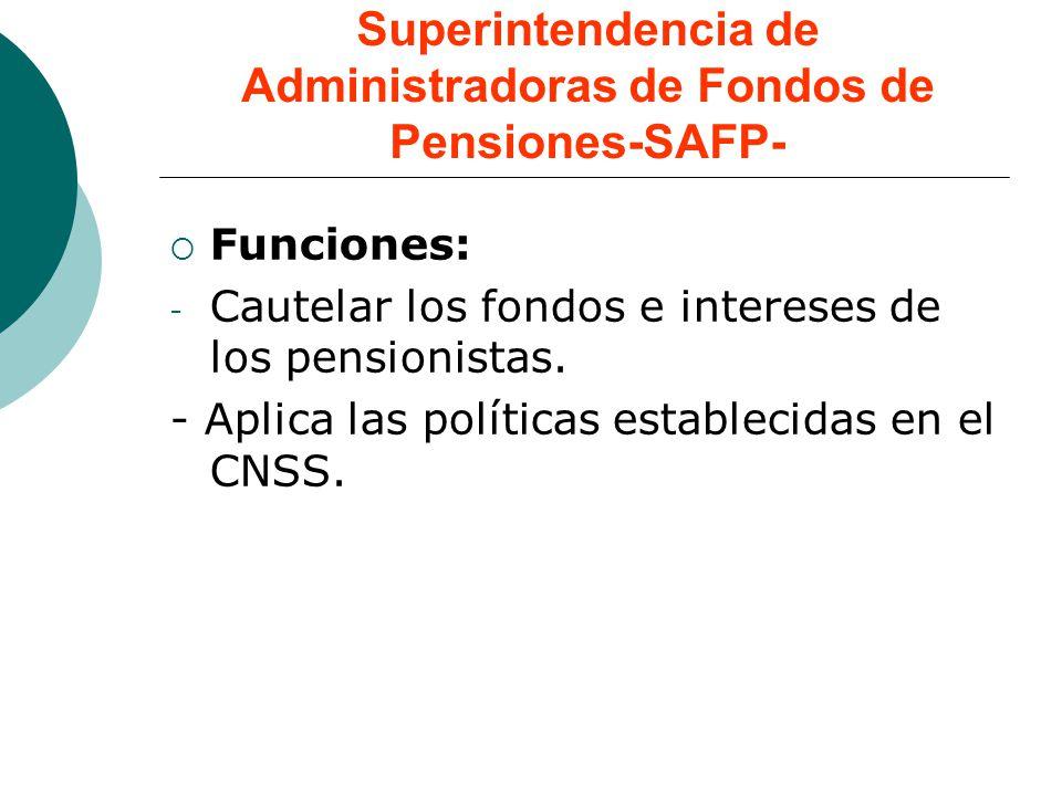 Superintendencia de Administradoras de Fondos de Pensiones-SAFP- Funciones: - Cautelar los fondos e intereses de los pensionistas. - Aplica las políti