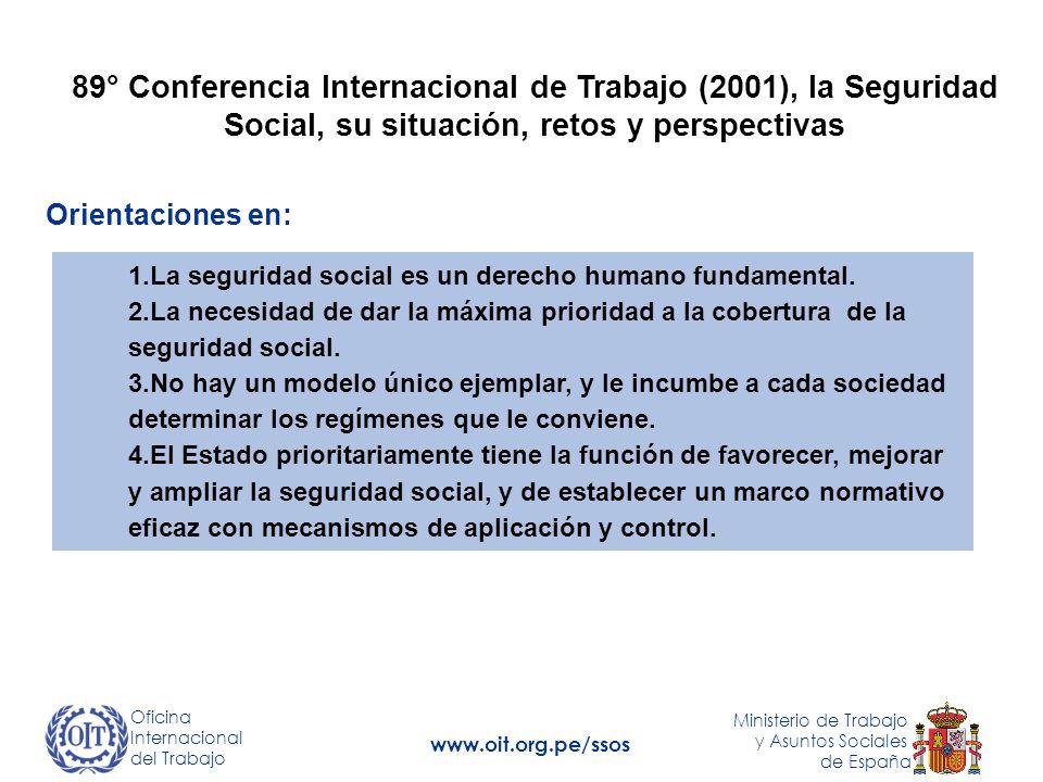 89° Conferencia Internacional de Trabajo (2001), la Seguridad Social, su situación, retos y perspectivas 1.La seguridad social es un derecho humano fundamental.