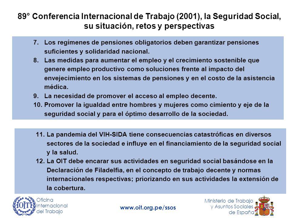 89° Conferencia Internacional de Trabajo (2001), la Seguridad Social, su situación, retos y perspectivas 7.Los regímenes de pensiones obligatorios deben garantizar pensiones suficientes y solidaridad nacional.