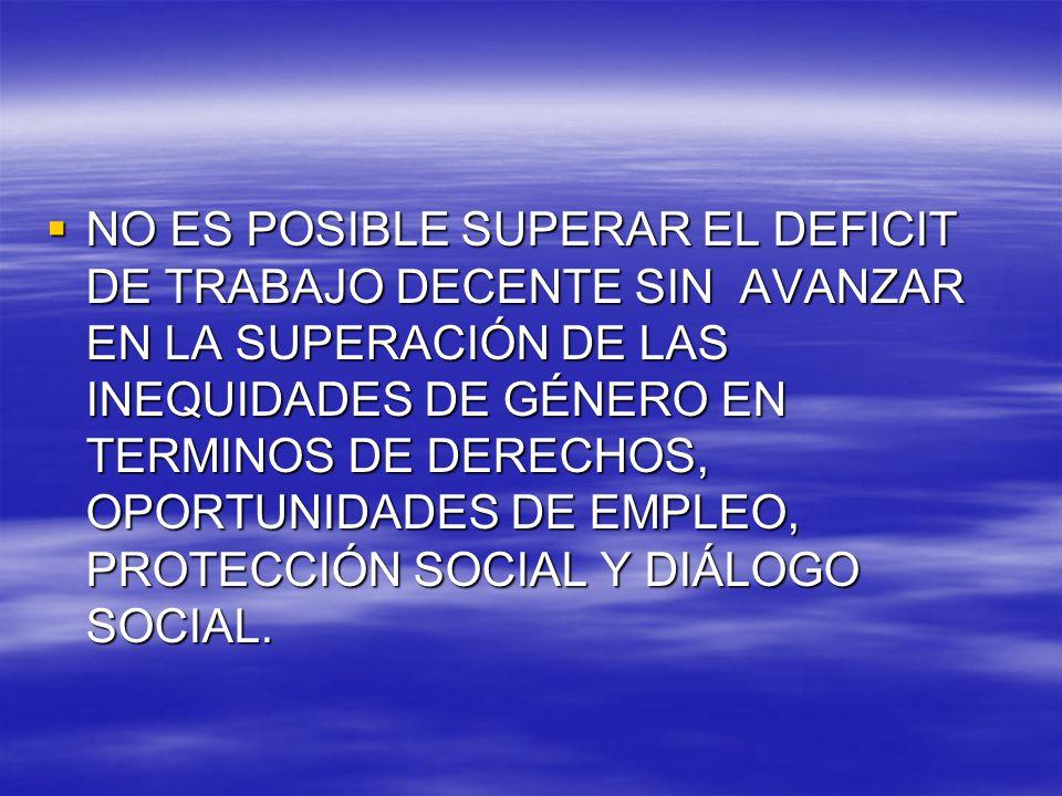 NO ES POSIBLE SUPERAR EL DEFICIT DE TRABAJO DECENTE SIN AVANZAR EN LA SUPERACIÓN DE LAS INEQUIDADES DE GÉNERO EN TERMINOS DE DERECHOS, OPORTUNIDADES DE EMPLEO, PROTECCIÓN SOCIAL Y DIÁLOGO SOCIAL.