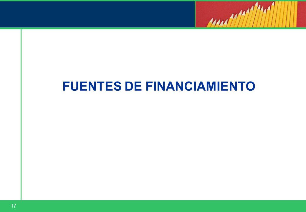 17 FUENTES DE FINANCIAMIENTO