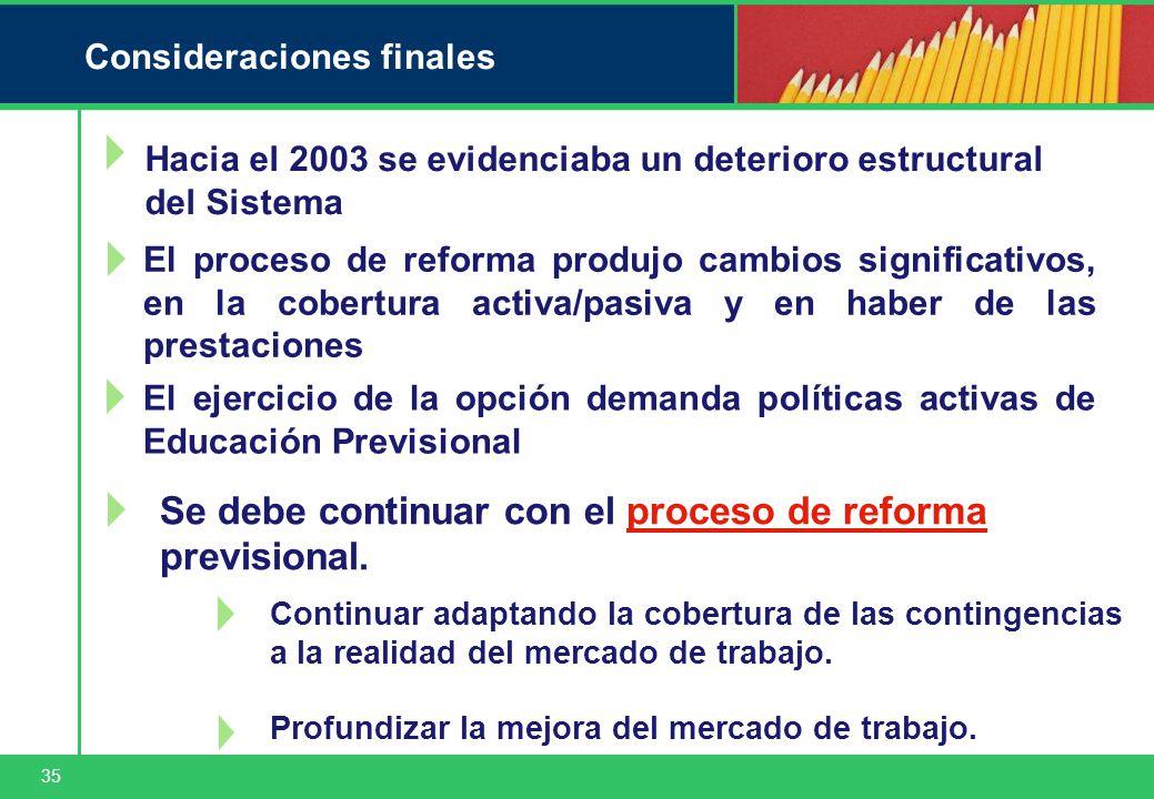 35 Consideraciones finales Se debe continuar con el proceso de reforma previsional.